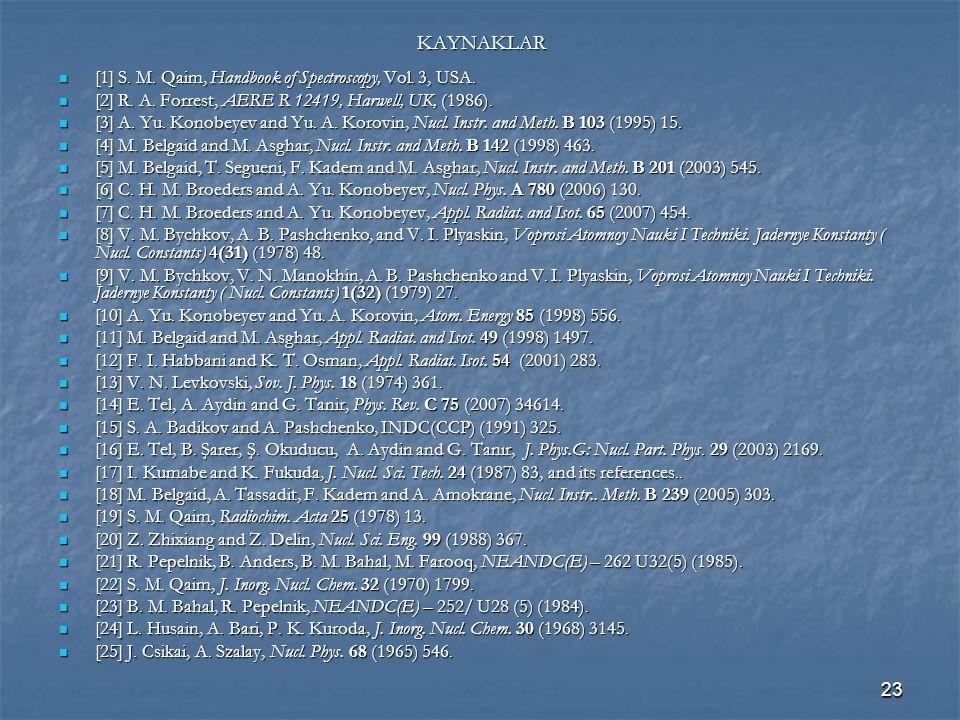 KAYNAKLAR [1] S. M. Qaim, Handbook of Spectroscopy, Vol. 3, USA.